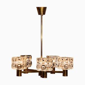 Brass and Crystal Chandelier from Konsthantverk Tyringe, Sweden, 1950s