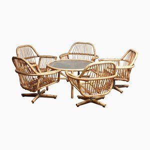 Rattan Garden or Lounge Swivel Chairs & Coffee Table Set, 1960s, Set of 6