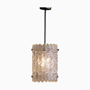 Brass and Crystal Glass Pendant Lamp by Carl Fagerlund for Orrefors, 1960s