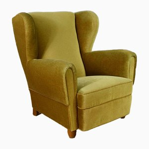 Art Deco Danish Green Velour Wingback Armchair, 1940s