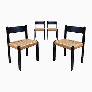 Mid-Century Danish Black Paper Cord Dining Chairs from Habitat, Set of 4