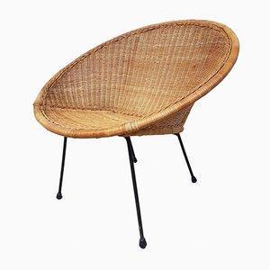 Mid-Century Wicker and Rattan Egg Satellite Round Tub Chair