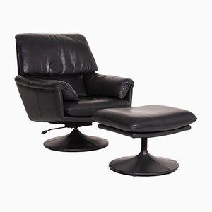 Black Leather Armchair & Stool from Leolux, Set of 2