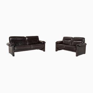 Dark Green Leather DS 70 2-Seat & 3-Seat Sofas from de Sede, Set of 2