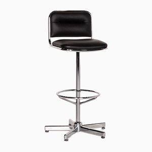 Black Leather and Metal Barstool from Thonet