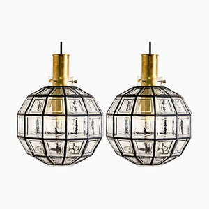 Large Iron and Clear Glass Light Fixtures from Glashütte Limburg, 1960s, Set of 2