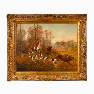Oil Painting of a Hunt with Hounds