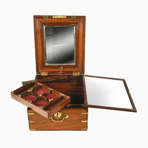 19th Century Wood and Brass Vanity Case