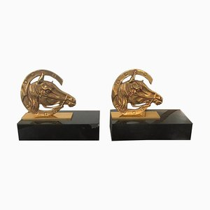 French Art Deco Golden Brass Horses Bookends in a Horseshoe on Marble Base, 1940s, Set of 2