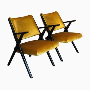 Mid-Century Italian Black Lacquered Wood & Ochre Velvet Armchairs by Dal Vera, 1950s, Set of 2