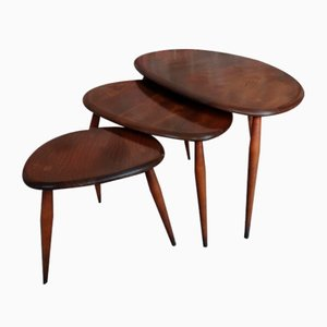 Vintage Organic Dark Stained Nesting Tables from Ercol, Set of 3