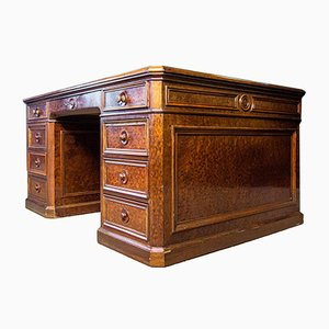 Antique English Desk with Black Leather Top