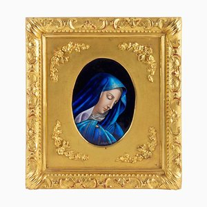 Antique Enamel Plate the Virgin Mary by Jules Sarlandie
