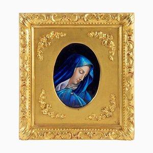 Assiette Antique en Émail la Vierge Marie par Jules Sarlandie