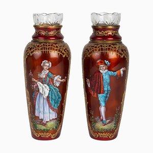 Emaillierte Vasen aus 19. Jhdt., 2er Set