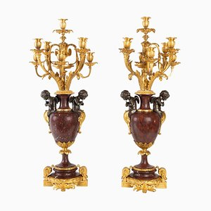 Antique Gold and Silver Bronze Candelabras, Set of 2
