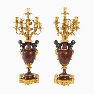 Antique Gold and Silver Bronze Candelabras, Set of 2