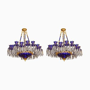 Antique Italian Blue Crystal 18-Light Chandeliers, Set of 2