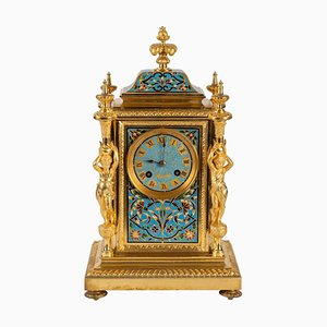 Antique Gold Bronze and Enamel Cloisonné Clock