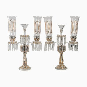 Antique Candelabras with 3 Arms from Baccarat, Set of 2