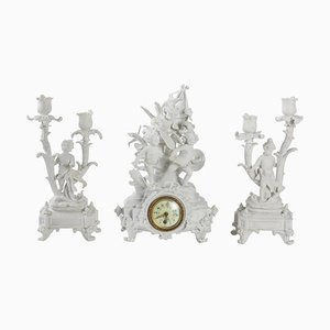 19th Century Fireplace Clock Set in Biscuit from Sèvres, Set of 3