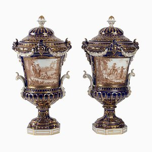 Antique Covered Porcelain Vases, Set of 2