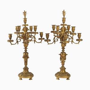 Antike vergoldete Bronze Kerzenständer, 2er Set