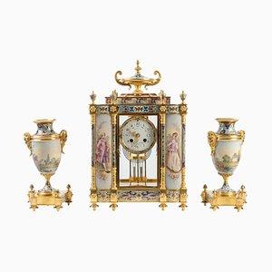 Antike Napoleon III Emaille Porzellan und Bronze Verkleidung Set, 3er Set