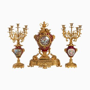 Set di due orologi in bronzo e maioliche, set di 3