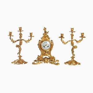 Louis XV Stil Bronze Kaminsims Set, 3er Set
