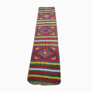 Romanian Handmade Colorful Wool Runner Rug with Rainbow Stripes and Geometrical Design, 1940s