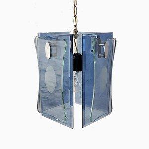 Blauer Glas & Stahl Kronleuchter von VECA, Italien, 1970er
