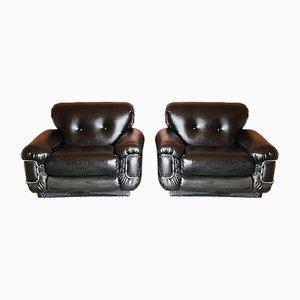Mid-Century Modern Italian Black Leather & Chrome Lounge Chair, 1970s