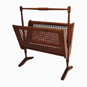 Vintage Italian Cane and Wood Magazine Rack, 1950s