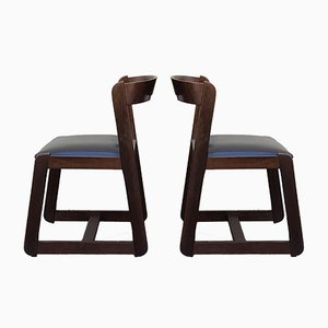 Italian Wood Dining Side Chairs by Willy Rizzo for Mario Sabot, 1970s, Set of 2