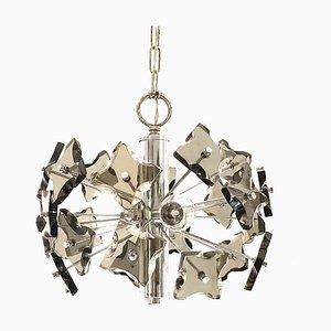 Mid-Century Modern Smoked Glass and Chrome Sputnik Chandelier from Fontana Arte, 1970s