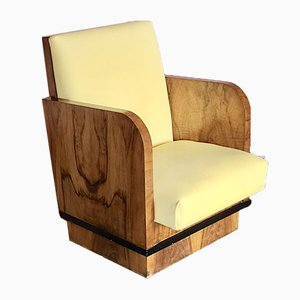 Art Deco Club Chair in Walnut Veneer, 1920s