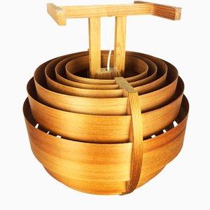 Mid-Century Modern Hängelampe aus Holz im Stil von Hans-Agne Jakobsson, 1960er