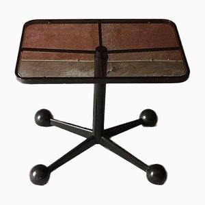 Italian Black Steel Glass Adjustable Wheeled Table from Allegri Parma, 1970s