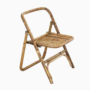 Vintage Italian Rattan Folding Chair, 1960s