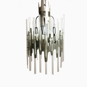 Vintage Italian Glass Tube Chandelier in the Style of Sciolari, 1970s