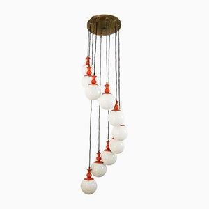 Italian Cascading Opaline Spheres Ceiling Lamp, 1970s