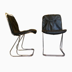 Mid-Century Modern Dining Chairs in Chrome and Black Leather, 1970s, Set of 2