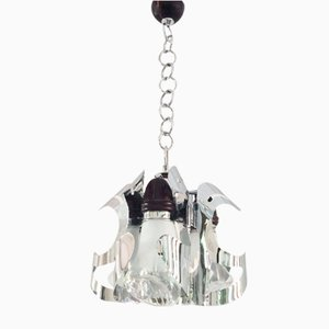 Italian Chrome, Wood & Murano Glass Chandelier from Mazzega, 1970s