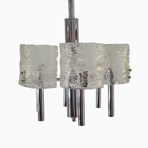 Mid-Century Murano Glass & Chrome Plating Chandelier by Carlo Nason for Mazzega, 1960s