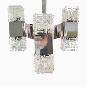 Chandelier in Chrome and Glass by Gaetano Sciolari, Italy, 1960s