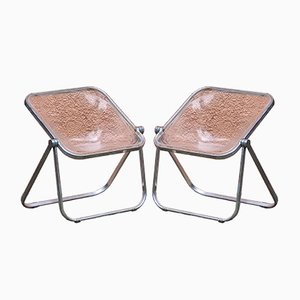 Mid-Century Modern Italian Plona Folding Chairs by Giancarlo Piretti for Castelli, 1970s, Set of 2