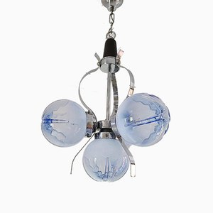 Light Blue Frosted Glass Chandelier from Mazzega, 1970s