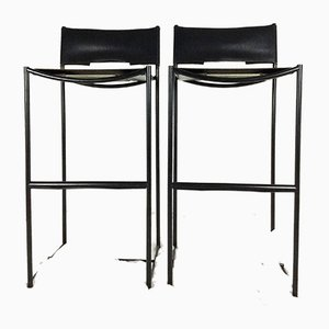 Natural Leather 164 Barstools by Giandomenico Belotti for Alias, 1980s, Set of 2