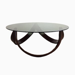 Mid-Century Modern Coffee Table in Walnut & Smoked Glass in the Style of G-Plan, 1970s